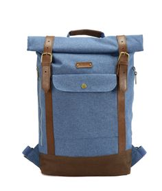 "Bleu G.ride backpack. Material polyester 600D Cationic. 1 large compartment with snap closure. Inside laptop pocket 15"" and zip pocket. Lateral zip for easy access. Natural leather. Front pocket. Reinforced base. High dentisty quilted back.. Size : 27 x 10 x 60 cm"