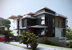 Dreams are not difficult wen focusing on them. Modern Exterior House Designs, Modern House Facades, Modern Villa Design, Exterior Design, Modern Zen House, Flat Roof House, Facade House, Bungalow House Design, House Front Design