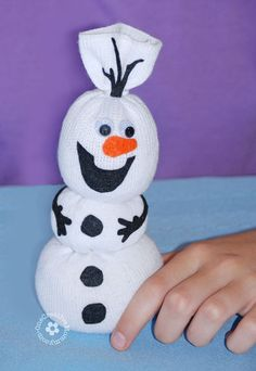 Olaf Sock Snowman Tutorial -- Add felt details