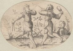 "1550 - 1600 Jost Amman - Small oval dueling scenes. ""1st of 6 engr. dueling scenes (from Bartsch, IX, pp. 356-7); 2 soldiers fighting or practicing with daggers and club, respectively; broken statue in right background.""  No, that's a compass and mallet, and they both have woodworking chisels.  *sighs*   One of my problems with the Brown archive is they have such minimal descriptions for their 16th century prints and often don't understand what the image is actually depicting."