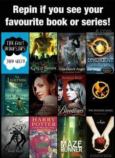 TFIOS, Clockwork Angel, PJO, Hunger Games, Harry Potter.