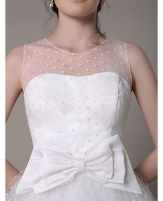 Vintage Polka Dot A-line Scoop Neck Tea-length Tulle Wedding Dress With Bow