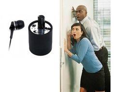 Gadgets espia y productos de espionaje. Microfono espia para paredes y puertas con auriculares.