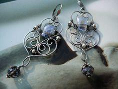 Guinevere filigree earrings  sterling silver by CleopatraKerckhof, $156.00