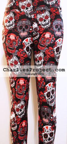 595904bbd5aff Valentine Sugar Skulls Charlies Project Leggings #ValentinesLeggings # Leggings #CharliesProject #SugarSkulls Valentines Leggings