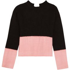 Marni Open-back two-tone cashmere sweater (1 556 AUD) ❤ liked on Polyvore featuring tops, sweaters, black, cashmere tops, open back sweater, marni sweater, wool cashmere sweater and two tone sweater