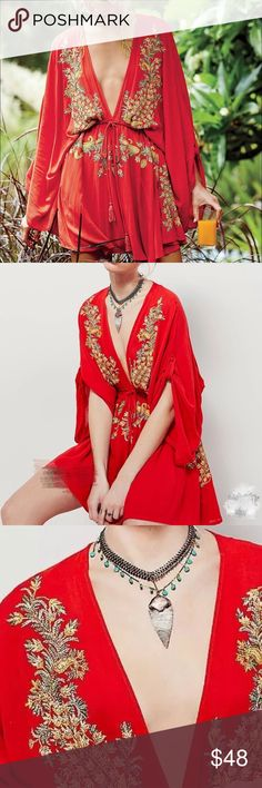 """""""Free people"""" styled embroidered dress One size. . Not free people. Listed for exposure only. Material: Linen and silk blended. Bust: 47.5"""". Waist: 25.2"""", length: 30.7"""" Free People Other"""
