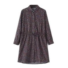 Lapel Button Down Long Sleeve Floral Print Dress ($21) ❤ liked on Polyvore featuring dresses, floral button up dress, long sleeve floral print dress, floral print dress, longsleeve dress and flower print dress