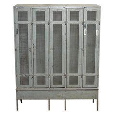 1stdibs | Industrial Metal Locker Unit WOULD LOVE TO USE THIS IN A ROOM, WOULD GIVE IT THAT FUNKY TOUCH