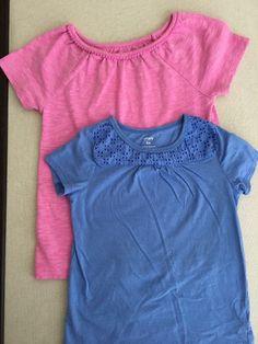 Carters Girls Size 6X, Mixed Lot, 2 Short Sleeve Tops, Eyelet, Pom-Pom  | eBay