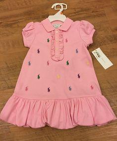 Ralph Lauren Baby Girl's Pink 2 Piece Dress & Bloomers 12 Months NWT #PoloRalphLauren