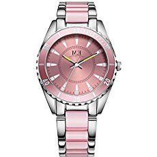 Luxury Women's Quartz Stainless Steel Watch Silver-Tone and Pink Bracelet Crystal Accent Dail Round Waterproof Analog Wrist Watches for Ladies
