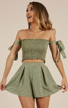Southern Sunshine two piece set in khaki linen look