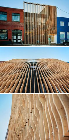 Using 100 year old fir reclaimed from an abandoned grain storehouse in Alberta, design firm MODA created a screen of 'fins' over top of the concrete exterior of this building.