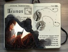 Lumos. Harry Potter Moleskine Drawings of Wizard Spells. See more art and information about Gabriel Picolo, Press the Image.