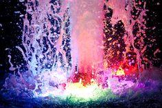Lighted Water Fountain at Night Niagara Falls Casino