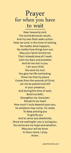Waiting might be the hardest thing to do. Seek Jesus during this time, and his Spirit will mold your heart. Remember, God is always present and in control. Trust in his timing and his will. Prayer Times, Prayer Scriptures, Bible Prayers, Faith Prayer, God Prayer, Power Of Prayer, Prayer Quotes, Spiritual Quotes, Faith Quotes