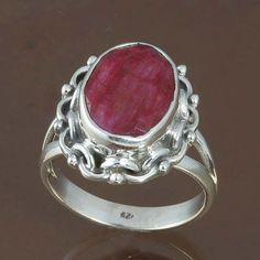 HOT DESIGN RUBY 925 STERLING SILVER RING JEWELRY 6.72g DJR8712 SIZE-9 #Handmade #Ring