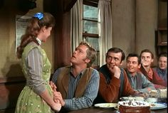"Betsy: ""You blew out all the candles, so your wish'll come true."" Trampas: ""Really? When are we gettin' married?"" 