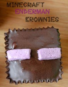 Delicious Minecraft Enderman Brownies. Perfect squares for birthday parties or just for dessert! Awesome food to eat. Yummy!