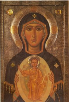 Our Lady od the Sign // Archimandrite Zenon Religious Images, Religious Icons, Religious Art, Byzantine Icons, Byzantine Art, Russian Icons, Gifts For An Artist, Art Thou, Orthodox Icons