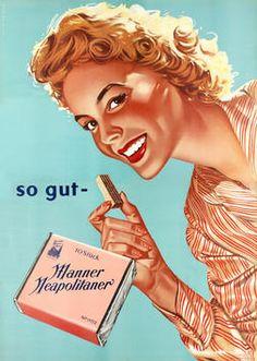 Vintage ad Manner's wafers, Vienna, Austria
