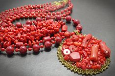 Red Genuine Branch Coral Multi Strand Layered Beaded Boho Chic