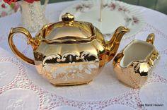 Antique Gold Lustre Sadler Teapot and Milk Jug