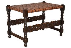 19th-C. Stool  w/ Braided  Leather Top on OneKingsLane.com
