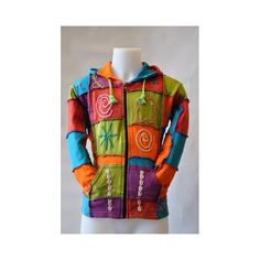 Very unique multicolor, cotton zip-vest with long funky hood and easy front pockets.