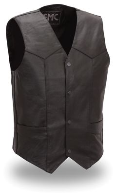 Classic Black Leather MC Vest - traditional four snap vest, crafted from top grain cowhide, fully lined, two inside pockets, and two front pockets. Color: Black Only Sizes: 40 - 48 (see drop down menu) Motorcycle Vest, Biker Gear, Biker Leather, Black Leather, Cow Leather, Cowhide Leather, Womens Harley Davidson Boots, Black Denim Vest, Fashion Boots