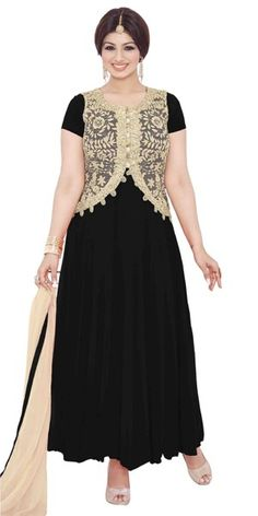 Charming Black And Cream Georgette Anarkali Suit.