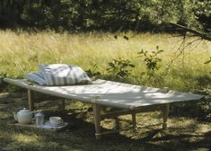 Want: beechwood folding cot: Remodelista Natur House, Diy Lit, Outdoor Spaces, Outdoor Living, Folding Beds, Banquette, Kid Beds, Outdoor Furniture, Outdoor Decor