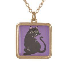 Black Cat with Purple Background Necklace; Abigail Davidson Art; ArtisanAbigail at Zazzle