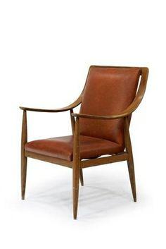 Silvio Cavatorta; Walnut and Leather Armchair, 1950s.