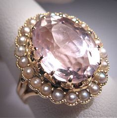 Beautiful - Antique Rose de France Amethyst Ring Pearl by AawsombleiJewelry, $1685.00