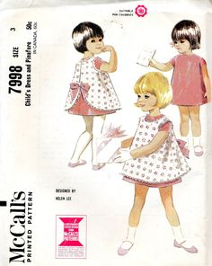 vintage 1965 HELEN LEE childs dress pinafore mccalls sewing pattern 7998 size 3 CLASSIC a-line bow retro pretty via Etsy.