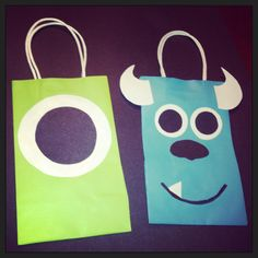 Monsters Inc Themed Candy Bags - could do Sully as art project