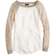 J.Crew Linen baseball sweater ($75) We love the vintage-inspired baseball tee—and love it even more dressed up in an airy Italian slub linen with slightly sheer sleeves for a feminine twist. (It might just be this season's MVP.) Loose fit. Linen/viscose/nylon/poly. Hits slightly below hip. Three-quarter sleeves. Rib trim at neck, cuffs and hem. Dry clean. Import.