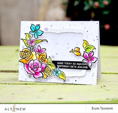 Erum shares a colorful floral card using the Amazing You Stamp Set. She built a lovely, floral spray with this set. www.altenew.com