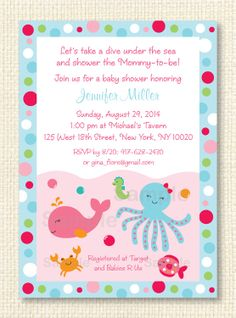Pink Under The Sea Printable Baby Shower Invitation EDITABLE TEXT