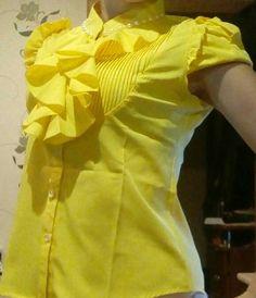 Tienda Online Ropa de mujer de moda Corto-manga del V-cuello de camisa de gasa OL delgado 2015 del verano superior femenina elegante Rebordear Ruffles blusa plus tamaño | Aliexpress móvil