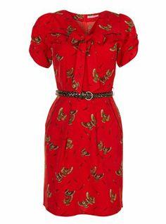 Trollied Dolly Red Owl Print Dress - pretaportobello