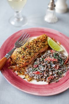 This crusted salmon recipe with puy lentils is the perfect dish for midweek entertaining – impressive but very simple to make.