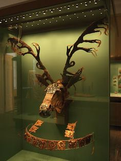 Stunning antler-like horse headpiece with matching breastcollar; Scythian, 3rd century BC. This particular piece is housed in the Hermitage Museum, St Petersburg, Russia