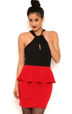Deb Shops Short Peplum Prom Dress with Mock Neckline $22.75