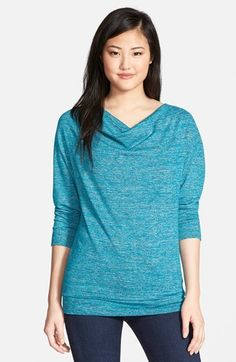 Caslon® Three-Quarter Sleeve Drape Neck Knit Top