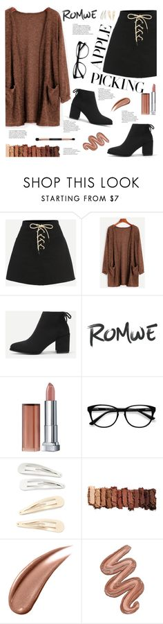 """""""Romwe 5"""" by sandralalala ❤ liked on Polyvore featuring Maybelline, EyeBuyDirect.com, Kitsch, Urban Decay and Violet Voss"""