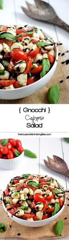 Wholesome Meals Caprese Salad gets made over and tossed with delicious gnocchi for an easy and wholesome, make ahead salad! - Caprese Salad gets made over and tossed with delicious gnocchi for an easy and wholesome, make ahead salad! Clean Eating, Healthy Eating, Vegetarian Recipes, Cooking Recipes, Healthy Recipes, Appetizer Recipes, Salad Recipes, Appetizer Ideas, Appetizers