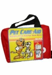 Not sure it's that different from a human first aid kit ... a 58 piece First Aid Kit for Pets. But a great website.